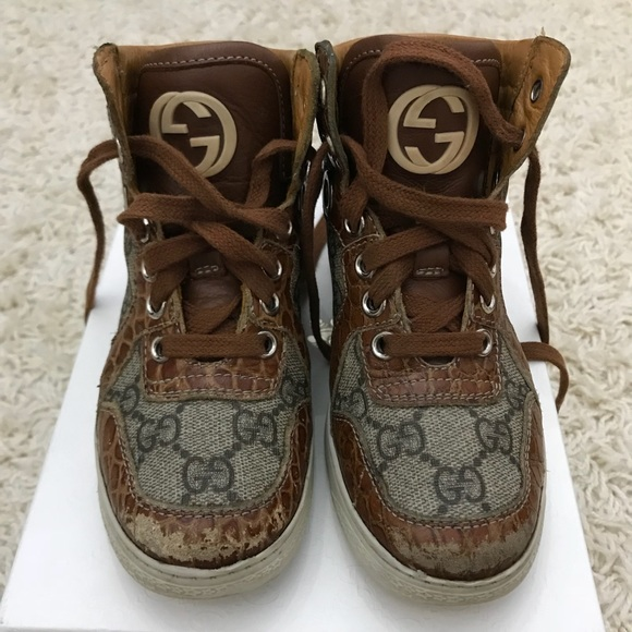 Gucci Other - Gucci Boys High Tops shoes Size 28 USA 10.5 brown cb78d194f0b7